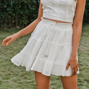 Bohemian White Short Skirt