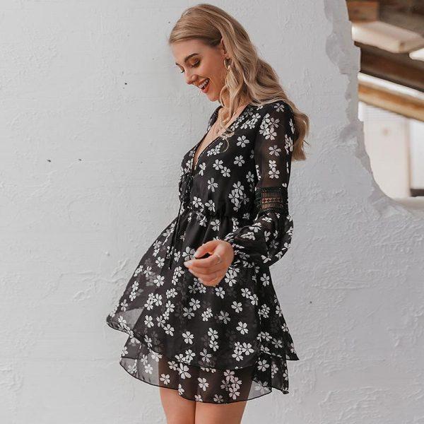 Floral Long Sleeve Hippie Short Dress