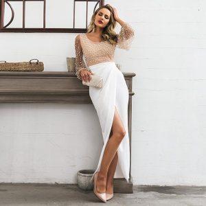 White bohemian dress for women