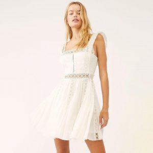 Bohemian style lace white dress