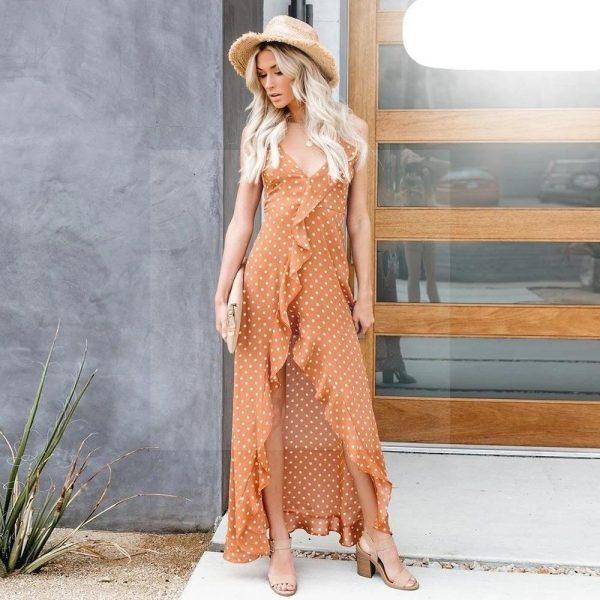 Bohemian chic orange dress
