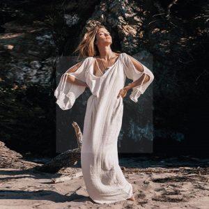 White lace beach dress bohemian chic