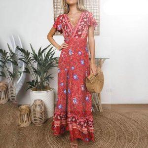 Bohemian red maxi dress