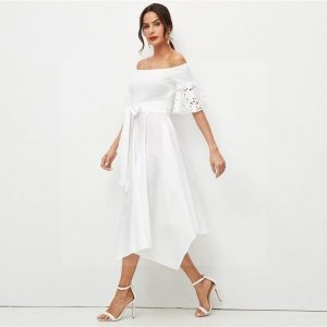 White bohemian hippie maxi dress