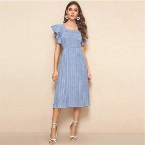 Blue bohemian mid-length dress