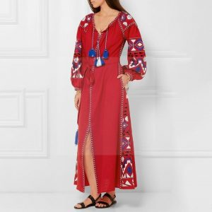 Bohemian style dress with 3/4 sleeves